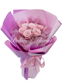 6 Pink Preserved Roses Fancy Bouquet <font color=red> Limited
