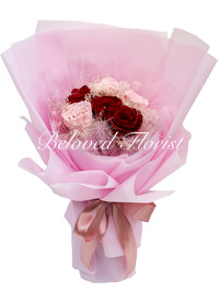 6 Red and Pink Preserved Roses Fancy Bouquet - Limited SALE